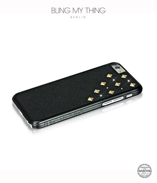 Solar Flare, Black Faux Leather/Light Colorado Topaz/Gold Studs, Metallique, iPhone 6s Case - Bling My Thing