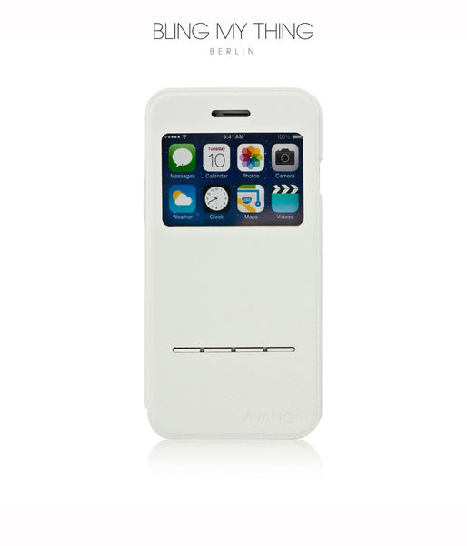 Super functional Primo Blanco iPhone 6s : White Horizontal Flip Faux Leather case with Stand and touch-sensitive sliding bar - Bling My Thing