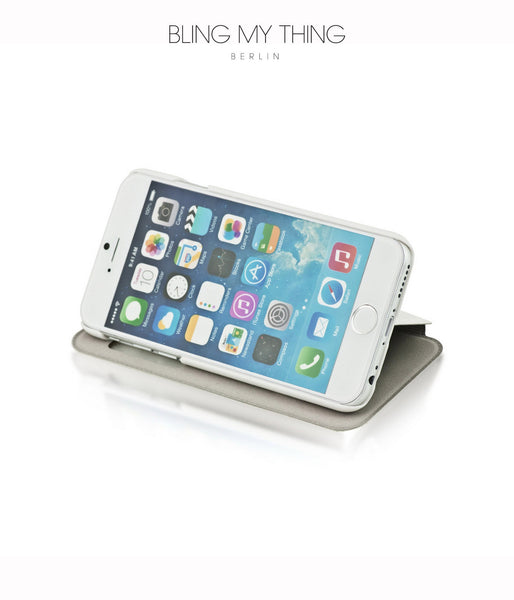 Super functional Primo Blanco iPhone 6s : White Horizontal Flip Faux Leather case with Stand and touch-sensitive sliding bar