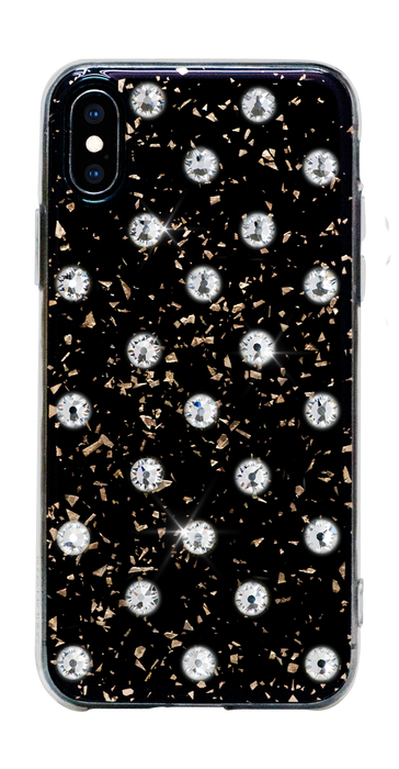POLKA DOTS ᛫ Black Galaxy, cover with Swarovski Crystals for iPhone X & XS - Bling My Thing