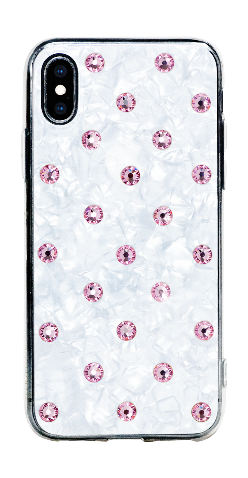 POLKA DOTS ᛫ Pearl White, cover with Swarovski Crystals for iPhone X & XS - Bling My Thing