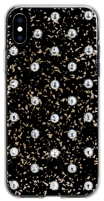 POLKA DOTS ᛫ Black Galaxy, rigid double-layer TPU cover with Swarovski Crystals for iPhone XS Max