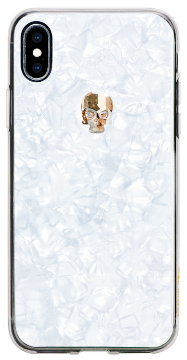 For iPhone XS Max: TREASURE ᛫ PEARL WHITE ᛫  clip-on hard cover with Skull Swarovski Crystals