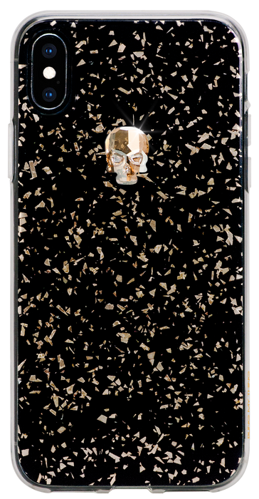 For iPhone XS Max : TREASURE ᛫ BLACK GALAXY ᛫  clip-on hard cover with Skull Swarovski Crystals