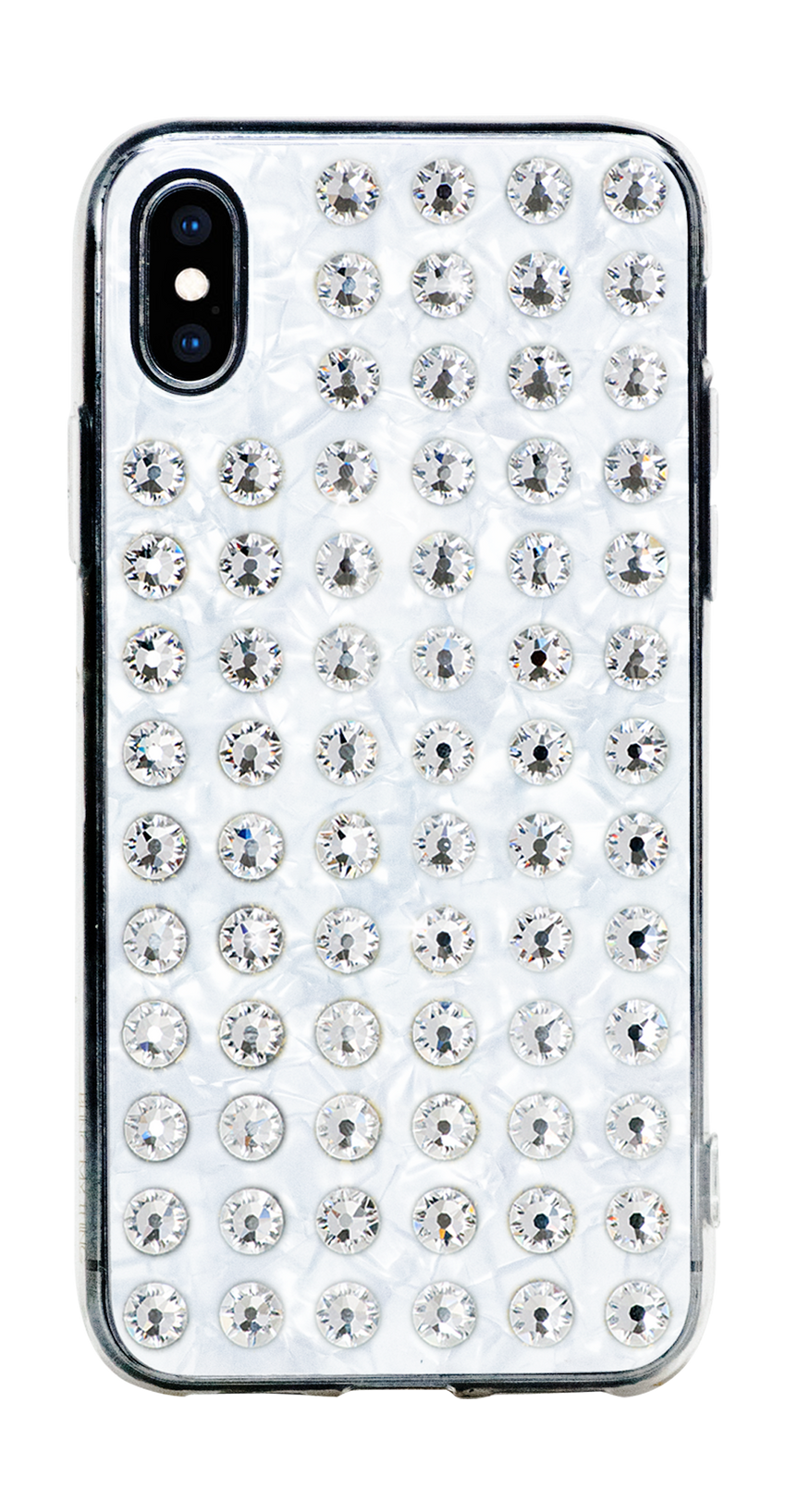 EXTRAVAGANZA ᛫ PEARL WHITE ᛫ clip-on cover with Swarovski Crystals for iPhone X & XS - Bling My Thing