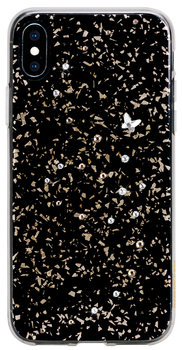 For iPhone XS Max: PAPILLON ᛫ BLACK GALAXY ᛫ clip-on hard cover with Swarovski Crystals