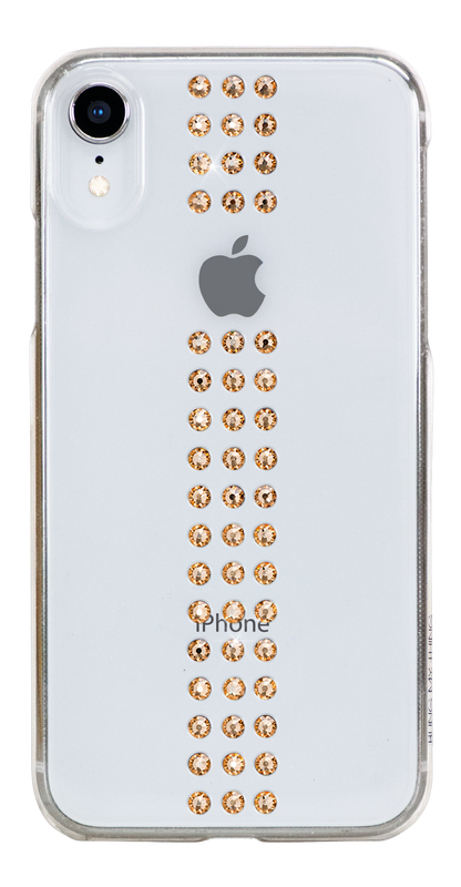 STRIPE ᛫ CLEAR ᛫ clip-on hard cover with Swarovski Crystals for iPhone XR - Bling My Thing - Swarovski Protective iPhone Case