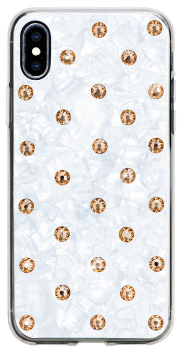 POLKA DOTS ᛫ Pearl White, rigid double-layer TPU cover with Swarovski Crystals for iPhone XS Max