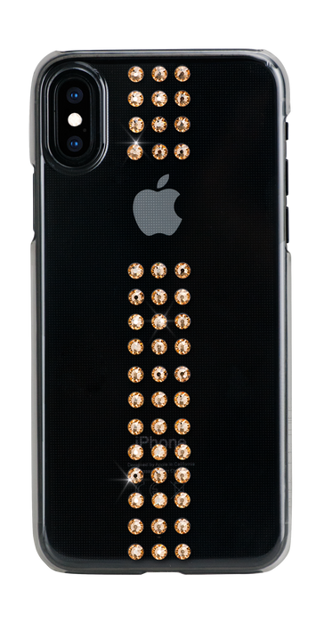STRIPE ᛫ CLEAR ᛫ clip-on hard cover with Swarovski Crystals for iPhone X & XS - Bling My Thing