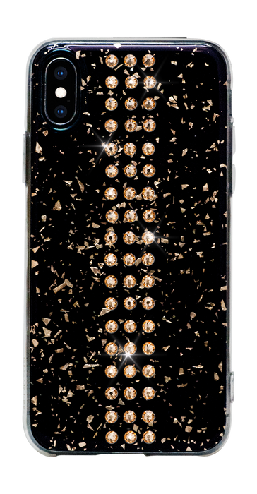 STRIPE ᛫ BLACK GALAXY ᛫ clip-on hard cover with Swarovski Crystals for iPhone X & XS - Bling My Thing