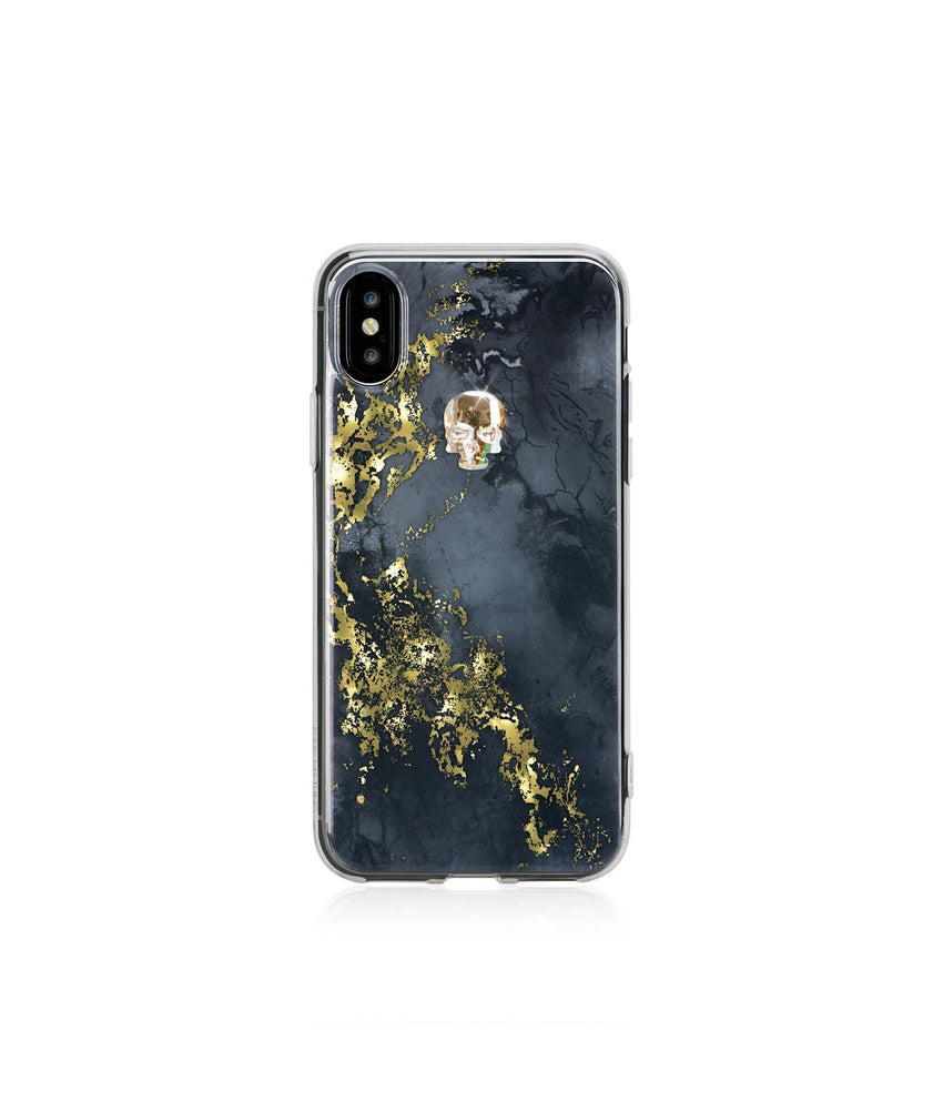 TREASURE ᛫ ONYX ᛫ clip-on hard cover with Skull Swarovski Crystals for iPhone X & XS - Bling My Thing