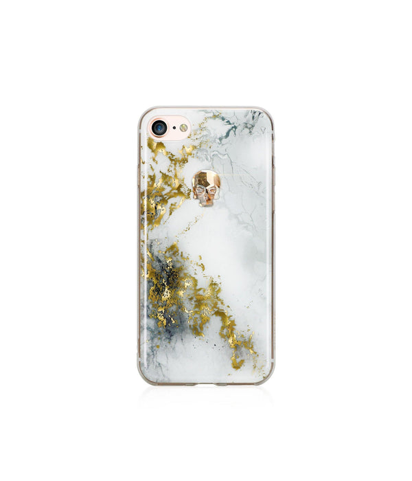 TREASURE COLLECTION ALABASTER / GOLD SKULL for iPhone 8 case - Bling My Thing