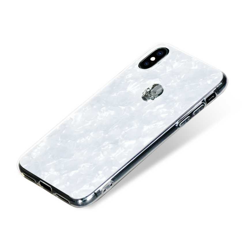 TREASURE ᛫ Pearl White ᛫ clip-on TPU cover with Skull Swarovski Crystals for iPhone X & XS - Bling My Thing