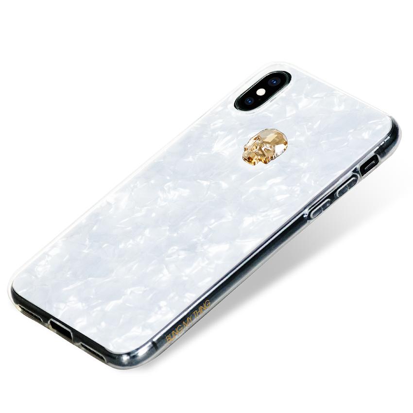 TREASURE ᛫ PEARL WHITE ᛫  double-layered TPU cover with Skull Swarovski Crystals - for iPhone XS Max