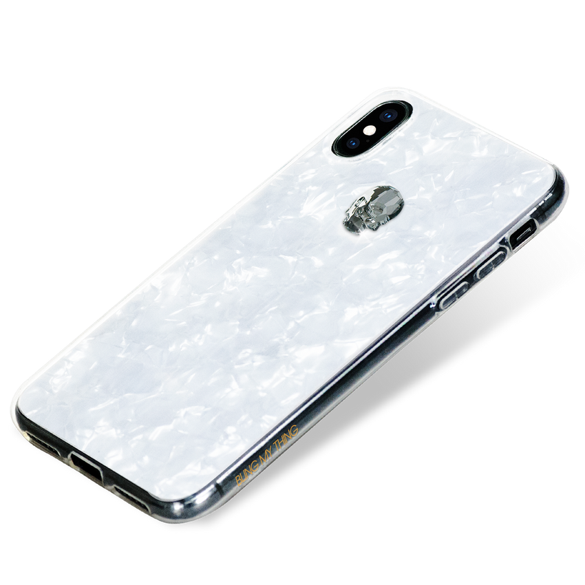 TREASURE ᛫ PEARL WHITE ᛫ double-layered TPU cover with Skull Swarovski Crystals - for iPhone XS Max - Bling My Thing