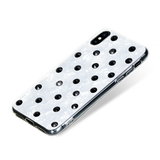 POLKA DOTS ᛫ Pearl White, rigid double-layer TPU cover with Swarovski Crystals for iPhone X & XS - Bling My Thing