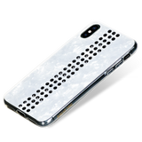 STRIPE ᛫ PEARL WHITE ᛫ clip-on hard cover with Swarovski Crystals for iPhone XS Max