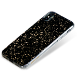 CHIC ᛫ BLACK GALAXY ᛫ with 3D gold glitter ᛫ double-layered TPU cover for iPhone XS Max - Bling My Thing