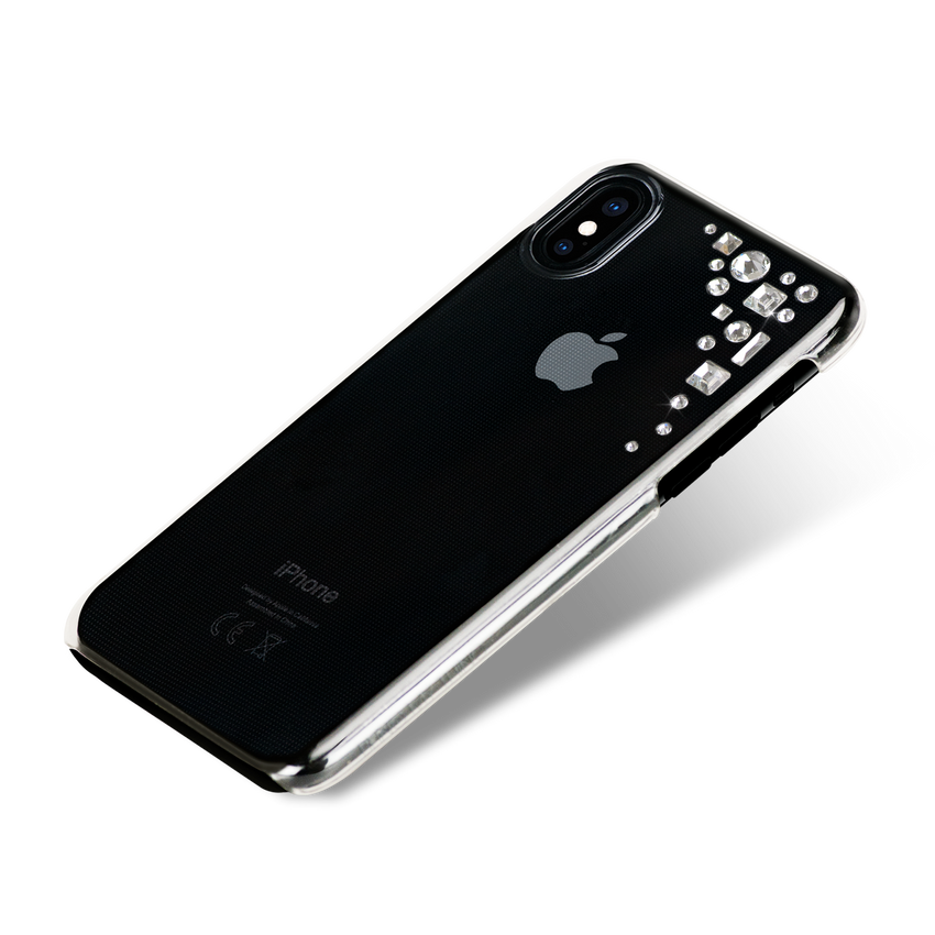 EDGE ᛫ clear, hard, clip-on cover with CRYSTAL (001) Swarovski Crystals for iPhone X & XS - Bling My Thing