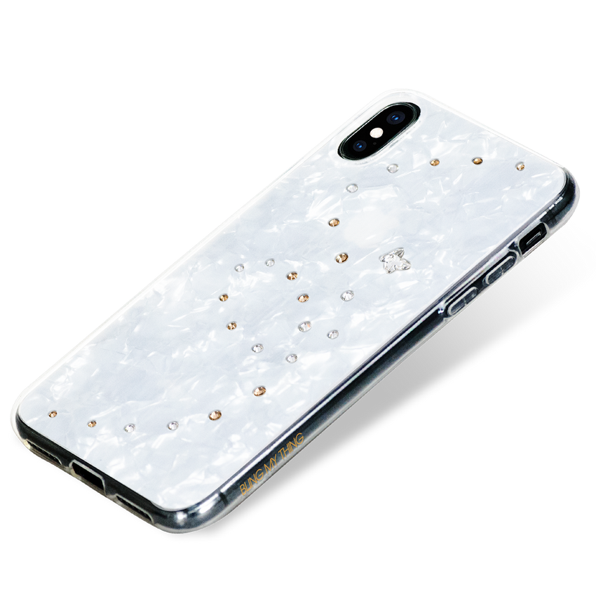 For iPhone XS Max: PAPILLON ᛫ PEARL WHITE ᛫ clip-on hard cover with Swarovski Crystals