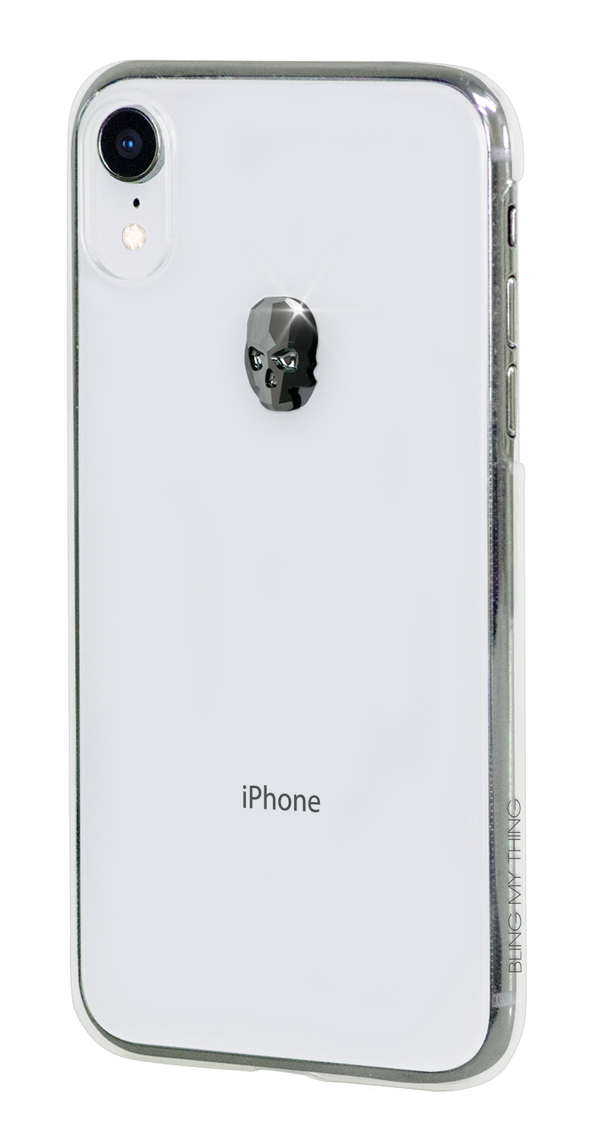 TREASURE ᛫ CLEAR ᛫ clip-on hard cover with Skull Swarovski Crystals for iPhone XR - Bling My Thing