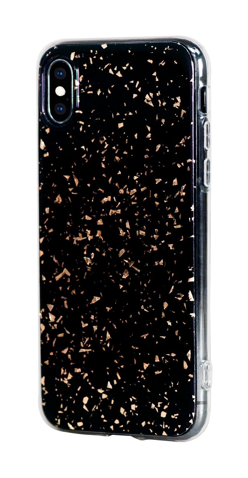 CHIC ᛫ BLACK GALAXY ᛫ with 3D gold glitter ᛫ double-layered TPU cover for iPhone X & XS - Bling My Thing