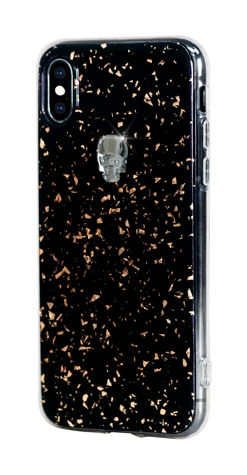 TREASURE ᛫ BLACK GALAXY ᛫  clip-on TPU cover with Skull Swarovski Crystals for iPhone X & XS - Bling My Thing - Swarovski Protective iPhone Case