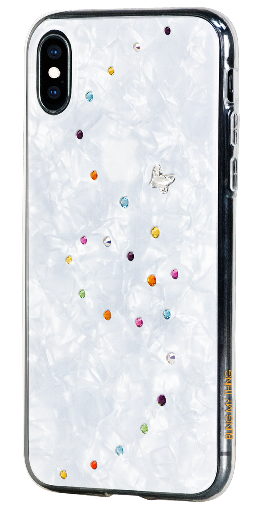 PAPILLON ᛫ PEARL WHITE ᛫ double-layered TPU cover with Swarovski Crystals - for iPhone XS Max