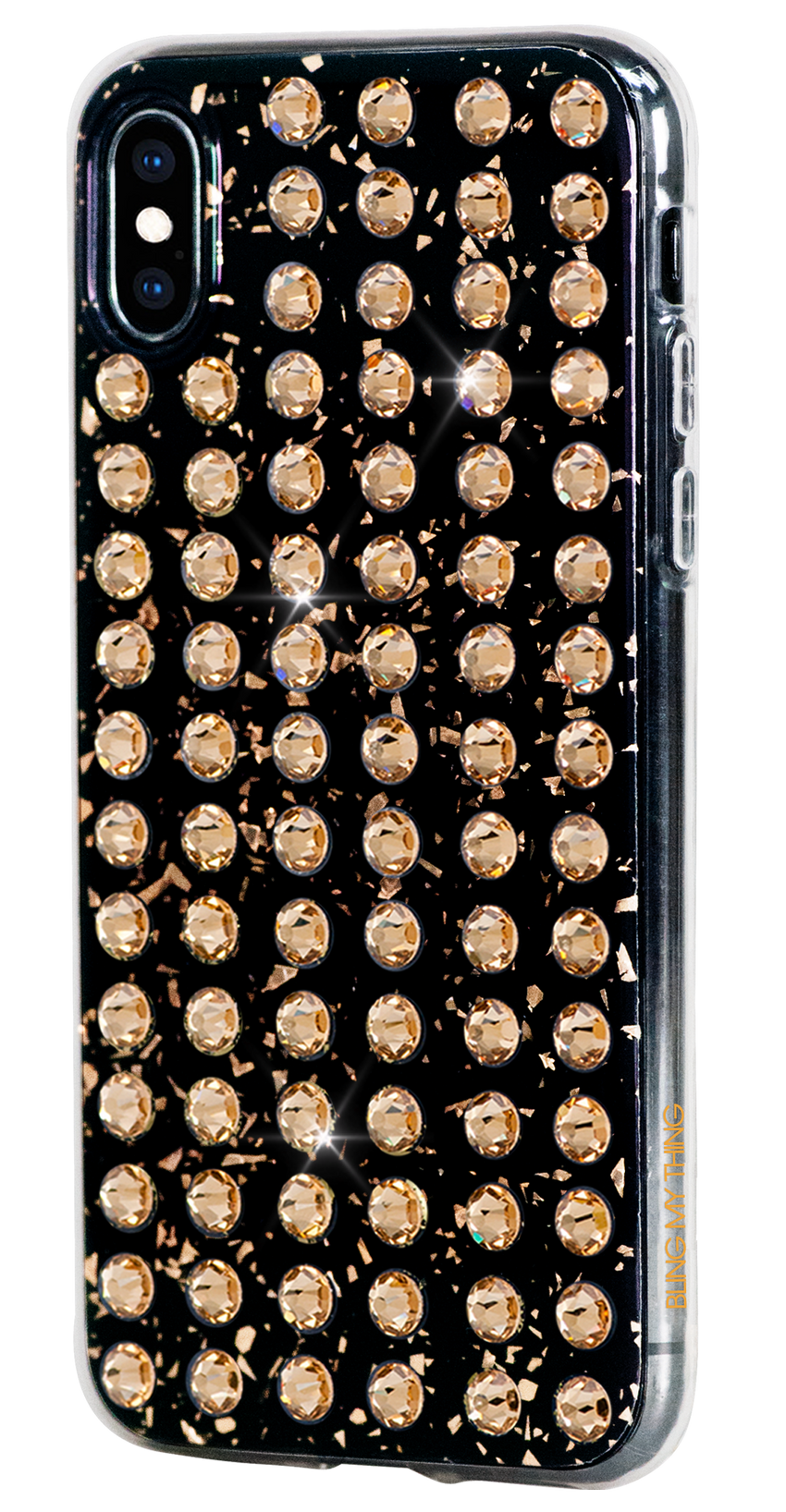 EXTRAVAGANZA ᛫ BLACK GALAXY with 3D gold glitter for iPhone XS Max - Bling My Thing