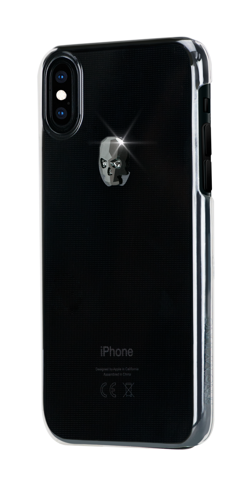 TREASURE ᛫ CLEAR ᛫ clip-on hard cover with Skull Swarovski Crystals for iPhone X & XS - Bling My Thing