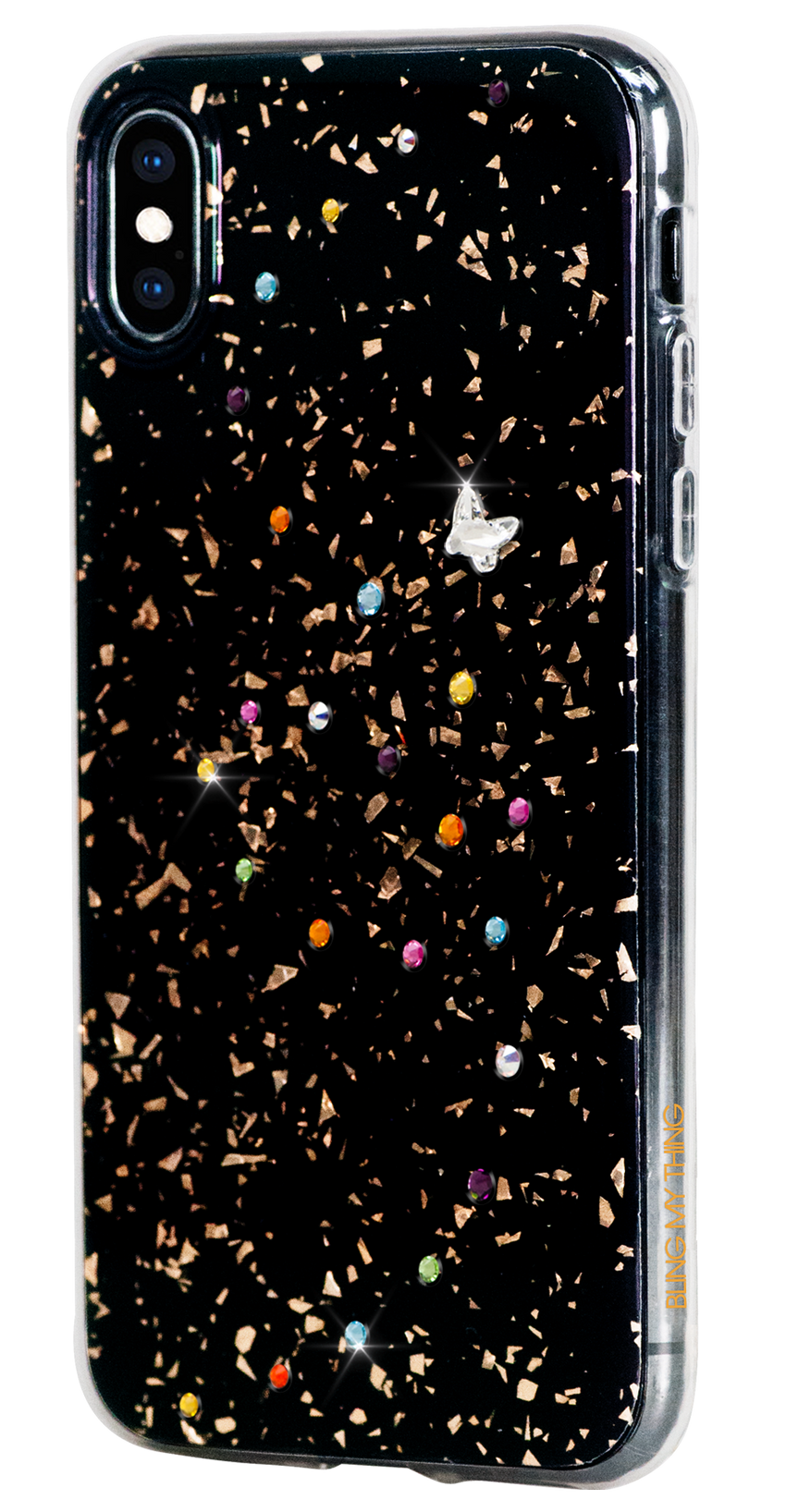 PAPILLON ᛫ BLACK GALAXY ᛫ double-layered TPU cover with Swarovski Crystals - for iPhone XS Max