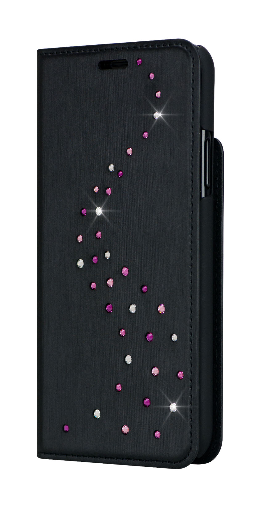 Primo - Black Metallic Fabric Wallet Case - Milky Way Swarovski Crystals for iPhone X & XS - Bling My Thing - Swarovski Protective iPhone Case