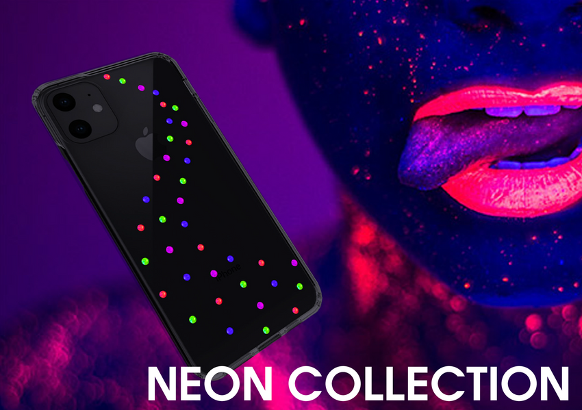 NEON MILKY WAY ᛫ BLACK SHELL ᛫ Protective Cover with Swarovski® Crystals for iPhone 11 PRO MAX - Bling My Thing