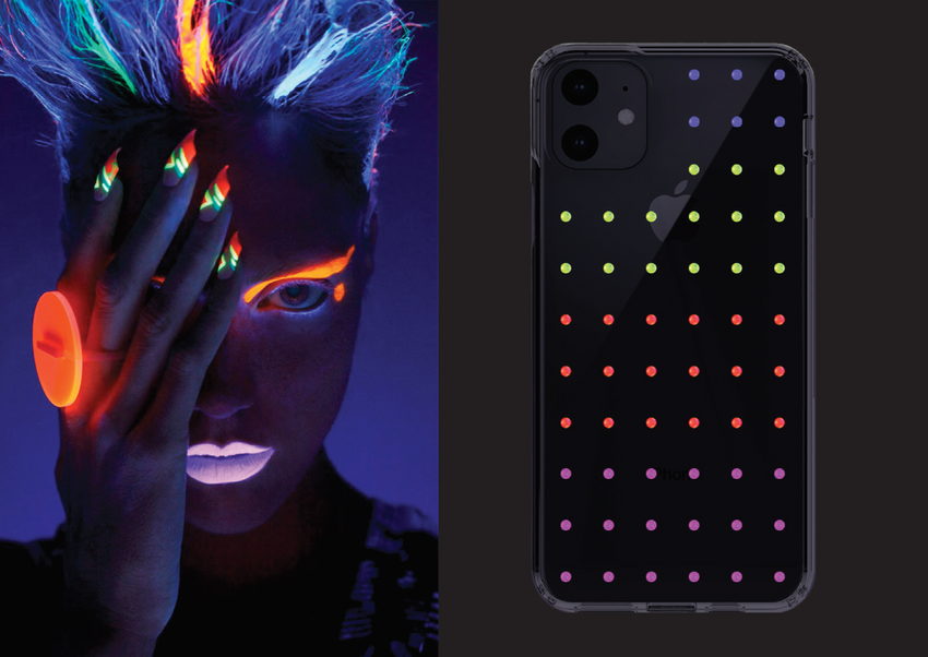 NEON mini EXTRAVAGANZA ᛫ BLACK SHELL ᛫ protective cover with Swarovski Crystals for iPhone 11 PRO - Bling My Thing
