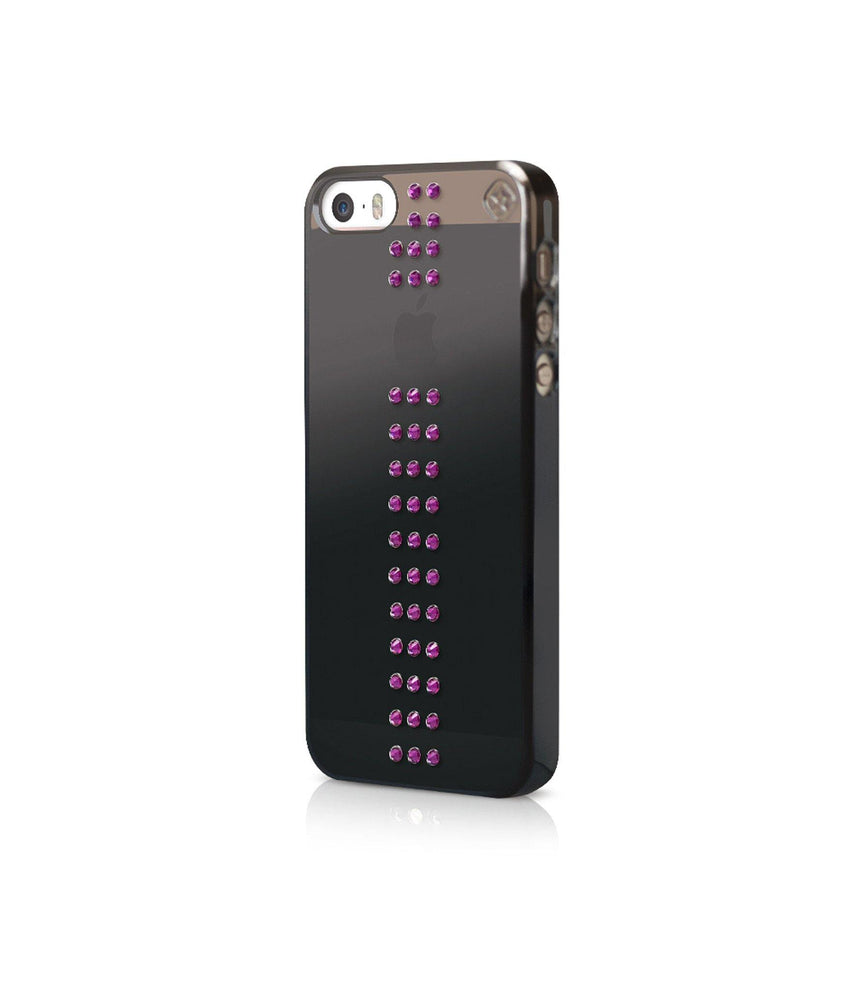 Black Metallic Mirror Case for iPhone SE : Stripe / Fuchsia - Bling My Thing