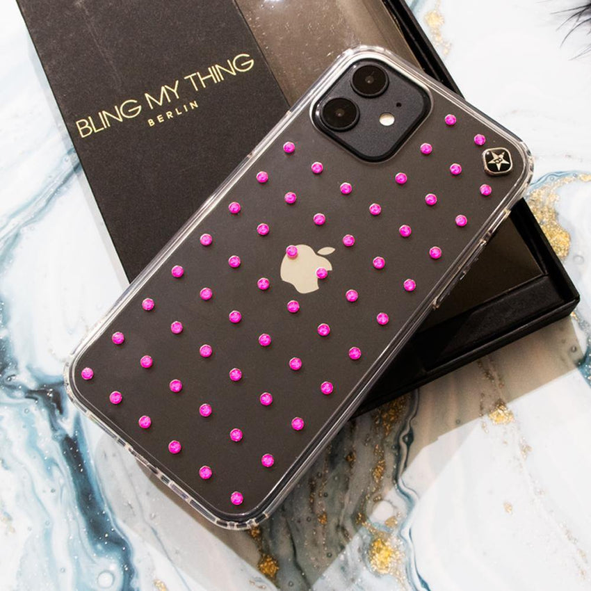 NEON mini EXTRAVAGANZA ᛫ CLEAR ᛫ Cover with Swarovski® Crystals for iPhone 12 - Bling My Thing - Swarovski Protective iPhone Case