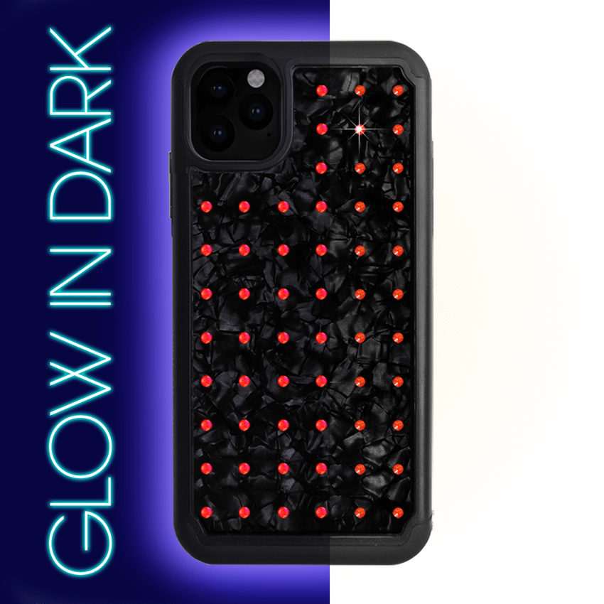 NEON mini EXTRAVAGANZA ᛫ BLACK SHELL ᛫ Protective Cover with Swarovski® Crystals for iPhone 11 PRO - Bling My Thing