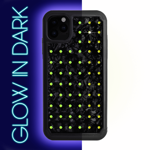 NEON mini EXTRAVAGANZA ᛫ BLACK SHELL ᛫  Protective Cover with Swarovski® Crystals for iPhone 11 PRO MAX - Bling My Thing - Swarovski Protective iPhone Case