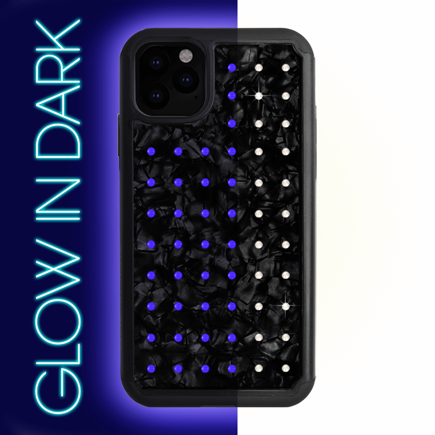 NEON mini EXTRAVAGANZA ᛫ BLACK SHELL ᛫ protective cover with Swarovski Crystals for iPhone 11 - Bling My Thing