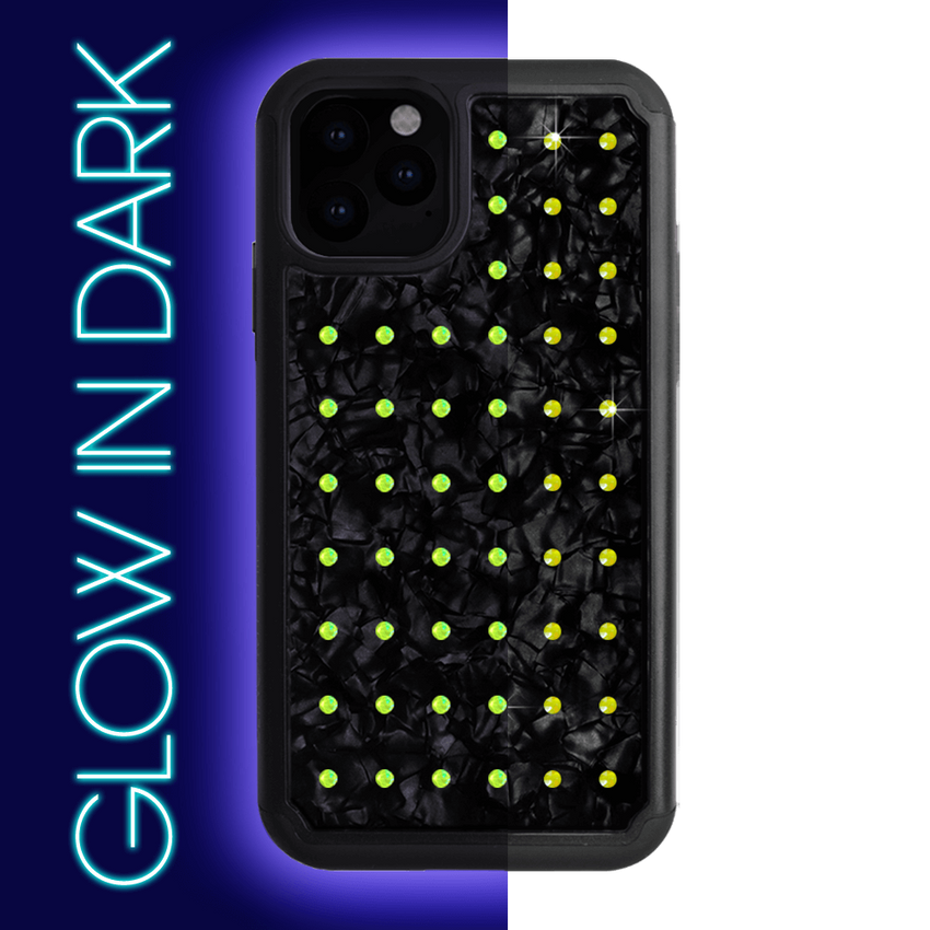 NEON mini EXTRAVAGANZA ᛫ BLACK SHELL ᛫ Protective Cover with Swarovski® Crystals for iPhone 11 PRO - Bling My Thing - Swarovski Protective iPhone Case