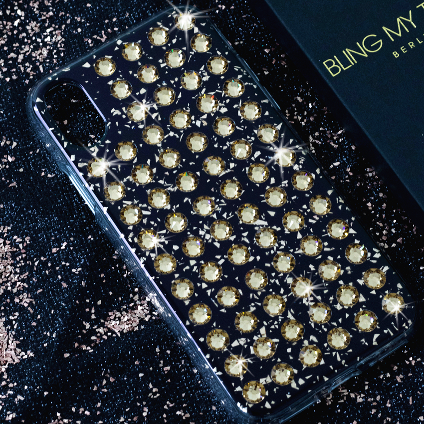 EXTRAVAGANZA ᛫ BLACK GALAXY ᛫ hard cover with Swarovski Crystals for iPhone X & XS - Bling My Thing