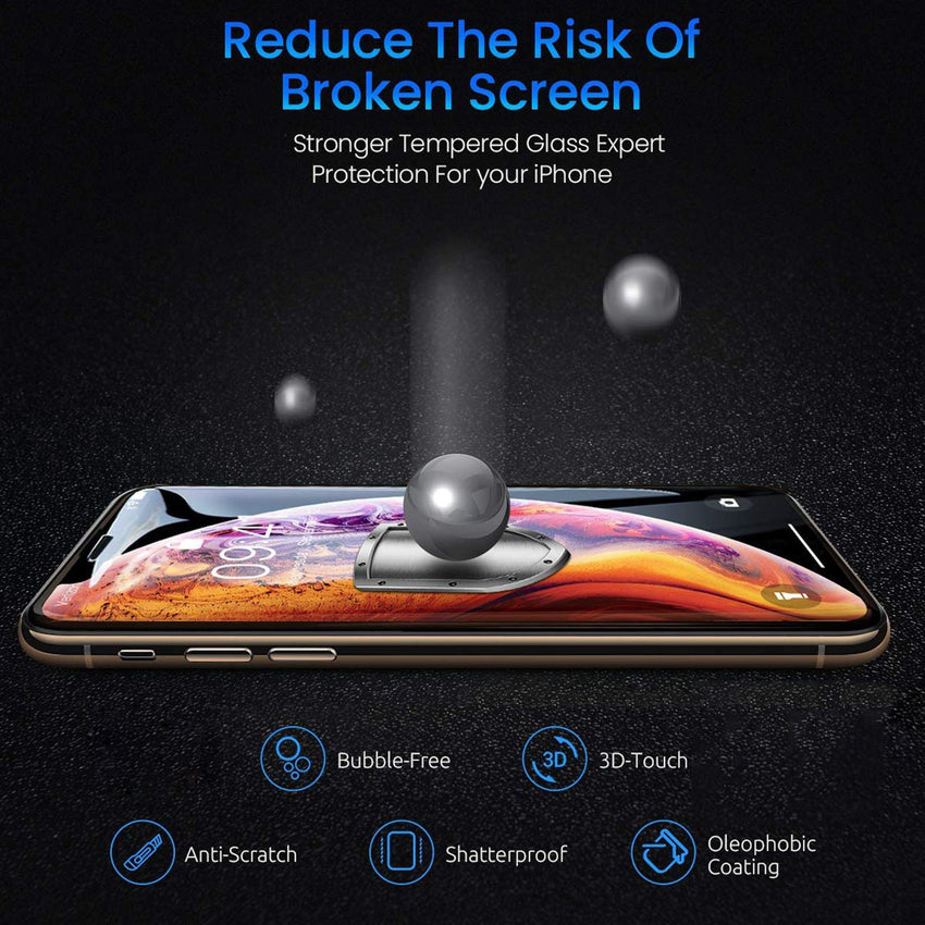 [0.33mm thick] 3D Tempered Glass Screen Protector 9H for iPhone XS / X - Bling My Thing - Swarovski Protective iPhone Case