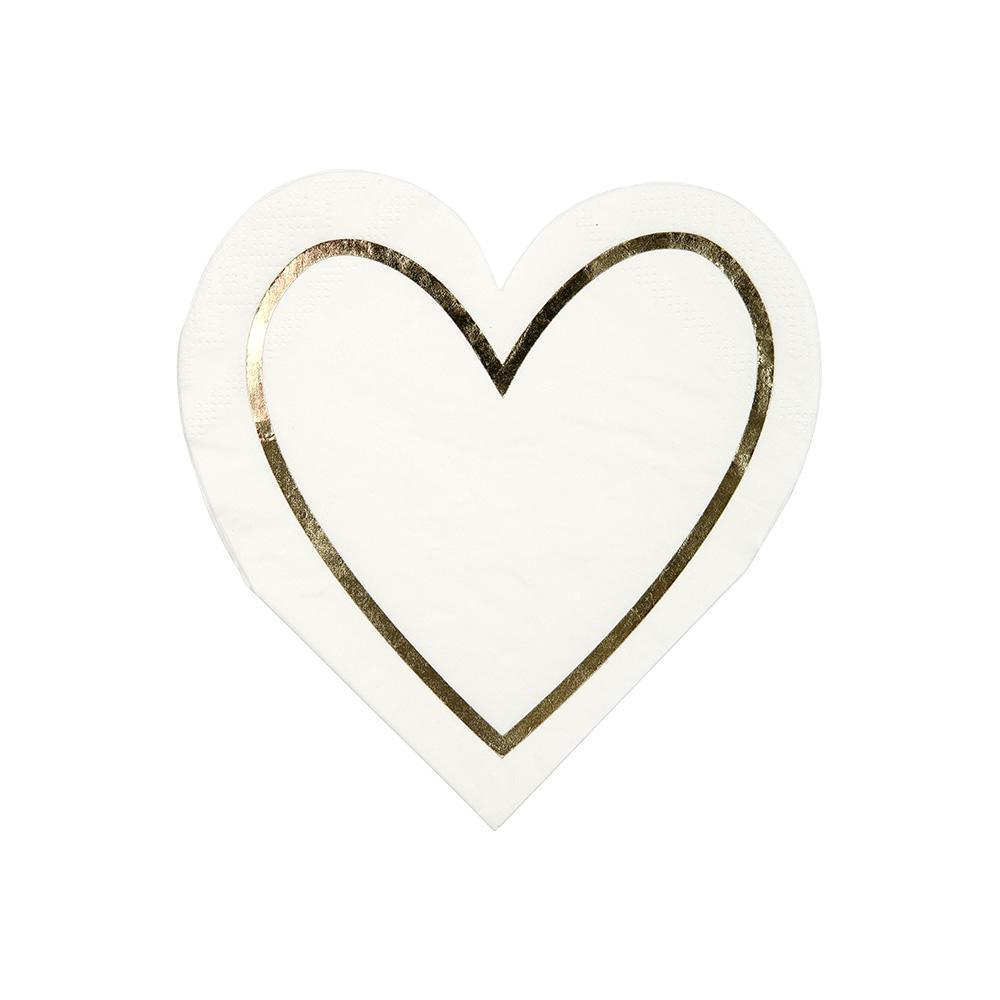 Gold Outline Heart Napkin