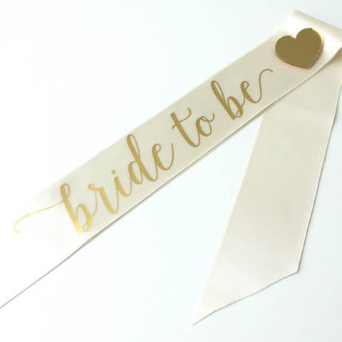 Bride To Be Sash - Ivory & Gold