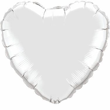 Giant Foil Heart Balloon - Silver