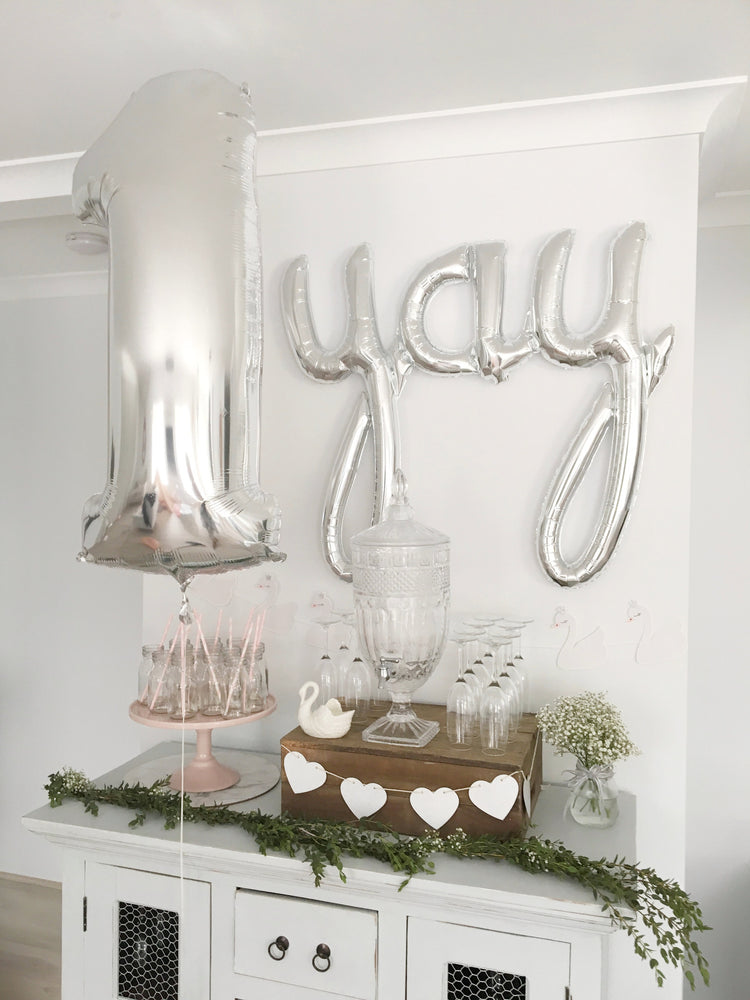 Parties Made Pretty, Swan theme, yay script balloon, Foil Balloon, First Birthday, Pink Party, Pretty Party