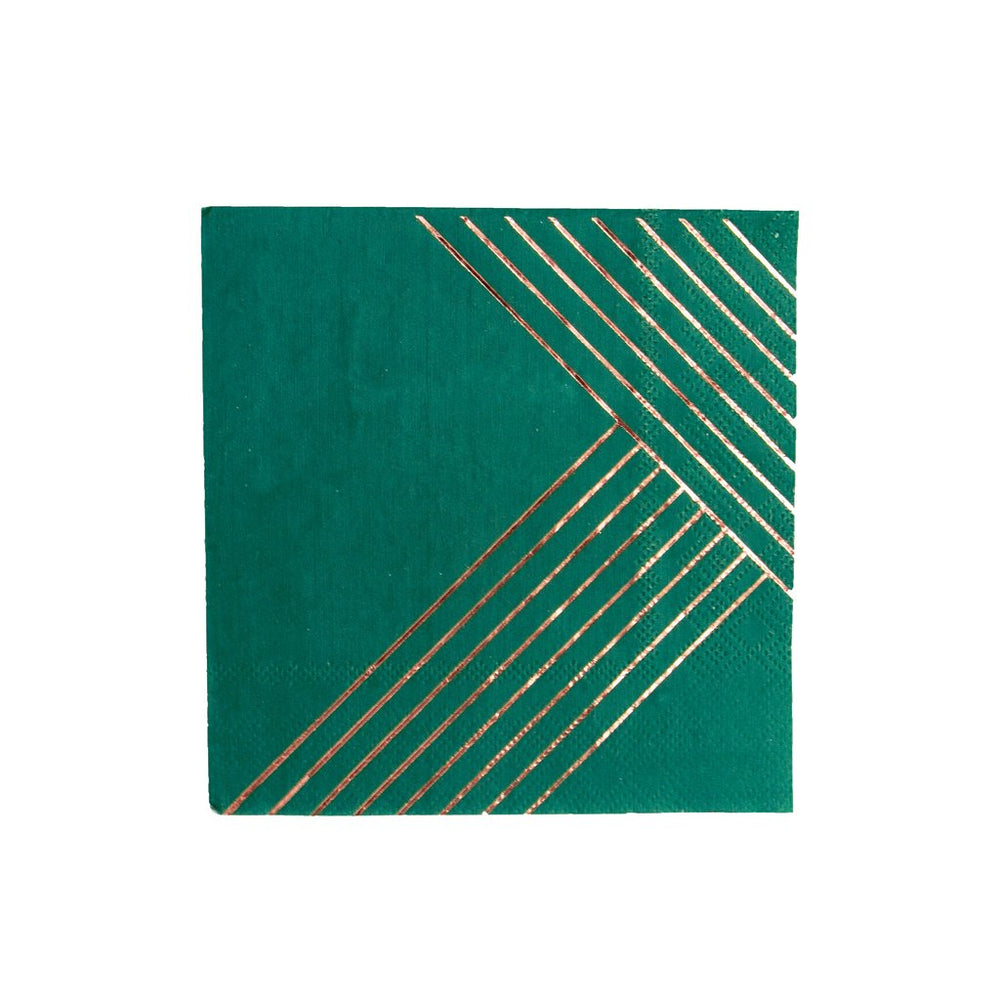 Manhattan - Dark Green Striped Cocktail Paper Napkins