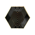 Noir - Black & Gold Hexagon Dessert Party Plates