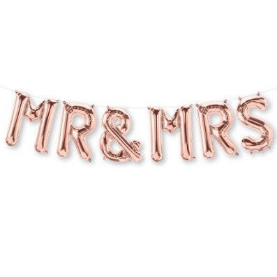 Rose Gold Foil Balloons - MR & MRS