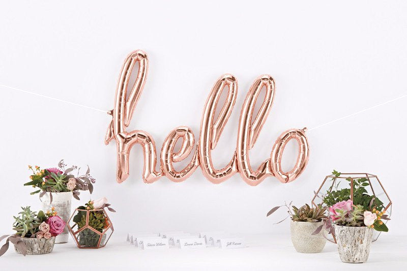 Hello Script Balloon - Rose Gold
